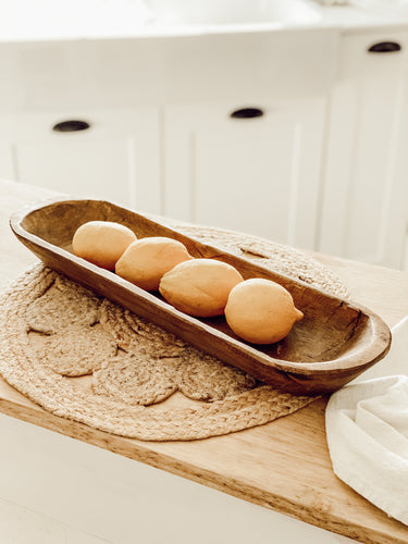 Rustic Hand Carved Wooden Baguette Bowl