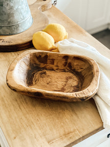 Small Rustic Hand Carved Wood Dough Bowl