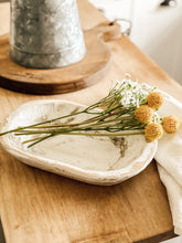 Small Rustic Hand Carved Wood Dough Bowl in White