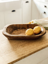 Large Rustic Hand Carved Wood Dough Bowl