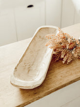 Rustic Hand Carved Wooden Baguette Bowl in White