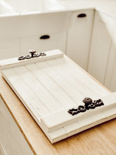 January Market Rustic White Wood Tray