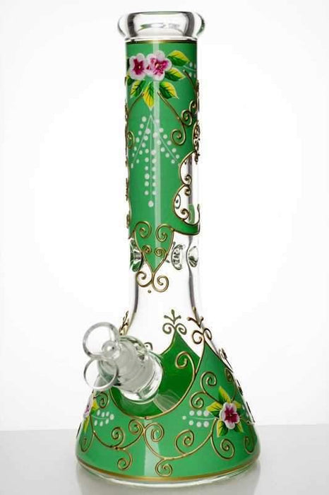 "13"" heavy glass flower artwork beaker water bong - Bong outlet Canada"