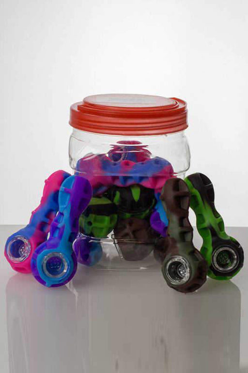 Silicone hand pipe with multi hole glass bowl - One wholesale Canada