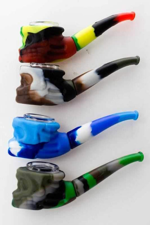 Silicone skull head hand pipe with multi hole glass bowl - One wholesale Canada