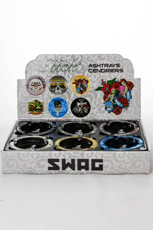 Round swag design glass ashtray - One wholesale Canada