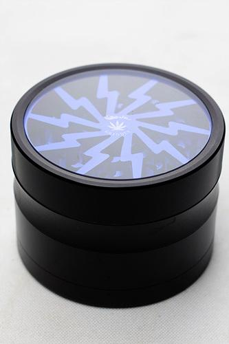 Black Aluminium 4 parts grinder with color acrylic window - One wholesale Canada