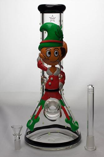 "13"" Glow in the dark artwork 7 mm glass bong - Bong outlet Canada"