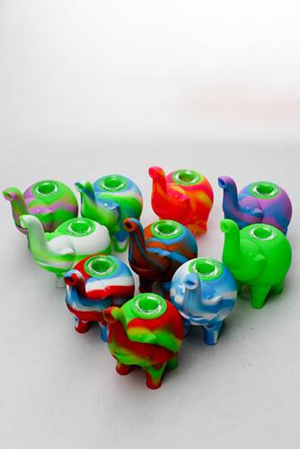 "4.5"" Genie elephant Silicone hand pipe with glass bowl - One wholesale Canada"