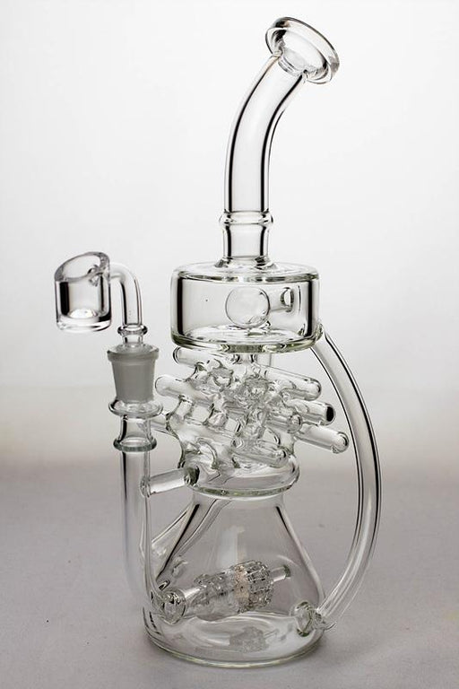 "11"" Inline shower head waffle recycled rig with a banger - Bong outlet Canada"
