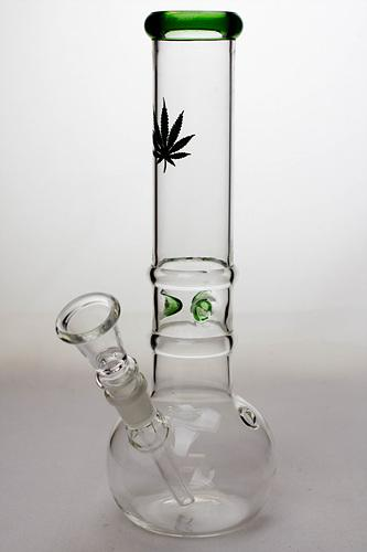 "10"" round base glass water pipe-Leaf - One wholesale Canada"