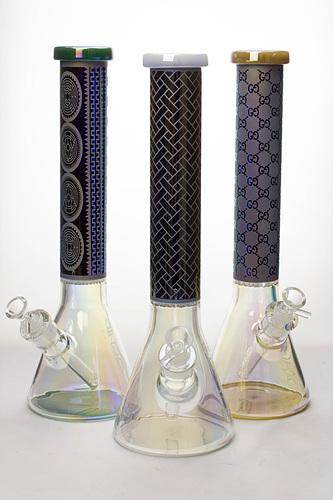 "15"" Genie 7mm Metallic beaker bong with honeycomb - Bong outlet Canada"