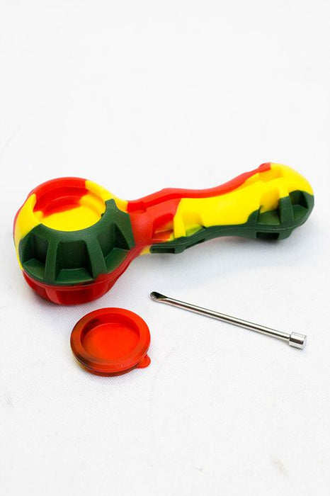 Silicone hand pipe with glass bowl, Jar and Dab tool