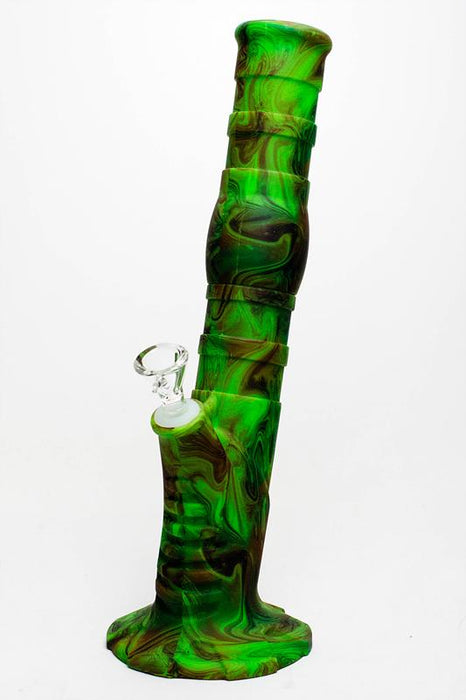 "13"" Detachable silicone straight Green tube water bong"