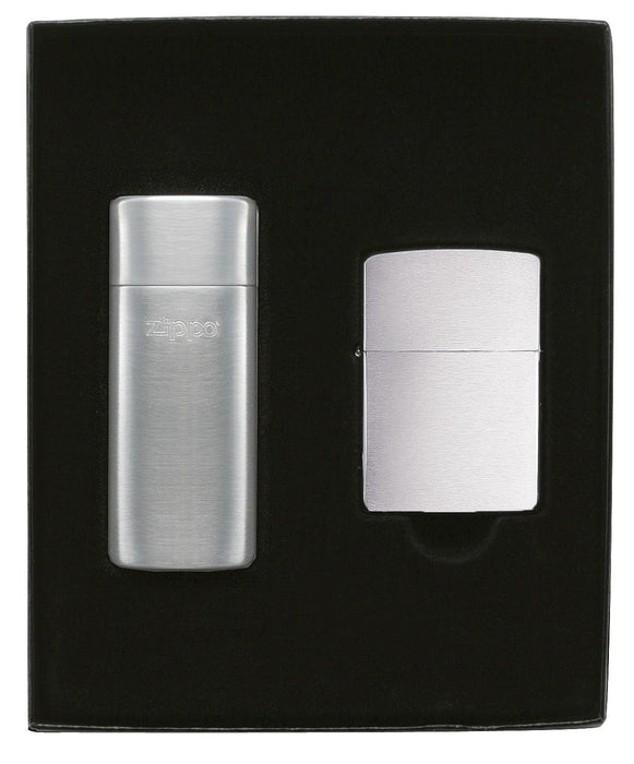 Zippo 24748 Gift Set Brushed Chrome Lighter / Pocket Ashtray - One wholesale Canada