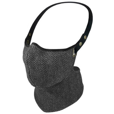 Rare Bird Black and Grey Herringbone Tweed Face Mask