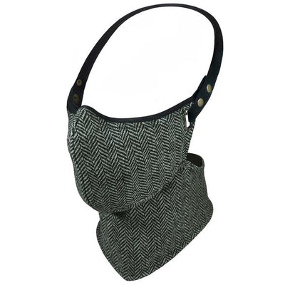 Rare Bird Black And White Herringbone Tweed Face Mask
