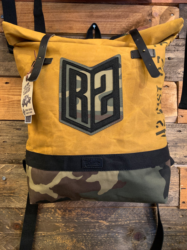 R2Ride Mustard Camo Helmet Backpack