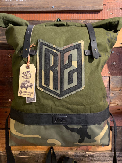 R2Ride Green Camo Helmet Backpack