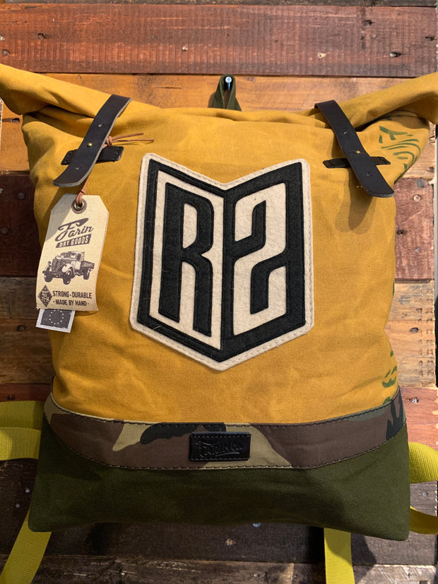 R2Ride Mustard Camo Green Helmet Backpack