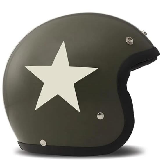 DMD Vintage Open Face Helmet Star Green