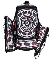 Black White and Red Elephant Mandala Sarong with Fringe - theHipOutfitters.com