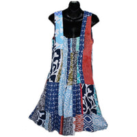 Patchwork Jumper Dress with Pockets, Size Small/Medium, Anchors - theHipOutfitters.com