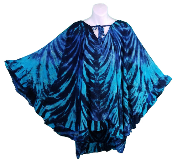 Tie-Dye Ruffled Pull-Over Poncho Top, Blue, Navy & Black - theHipOutfitters.com