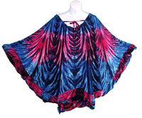 Tie-Dye Ruffled Pull-Over Poncho Top, Red, Blue & Black - theHipOutfitters.com