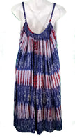 Red White & Blue Stripe Tie-Dye A-Line Trapeze Dress - theHipOutfitters.com
