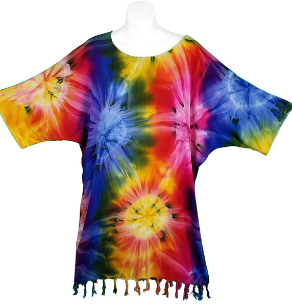 Rainbow Starburst Tie-Dye Shirt with Fringe - theHipOutfitters.com