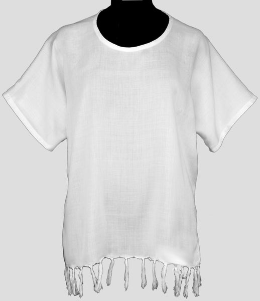 Kid's White Pullover Hippie Shirt With Fringe Dye Blank - 2PK - theHipOutfitters.com