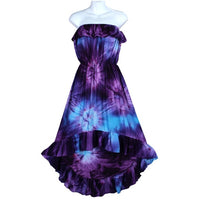 Tie-Dye Flamenco Strapless Sundress, Hi-Lo Ruffled Hem, Blues & Purples - theHipOutfitters.com
