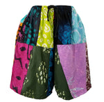 Patchwork Board Shorts with Pockets, Size Small, Funky Patch - theHipOutfitters.com