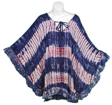 Tie-Dye Ruffled Pull-Over Poncho Top, Red White & Blue Stripe - theHipOutfitters.com
