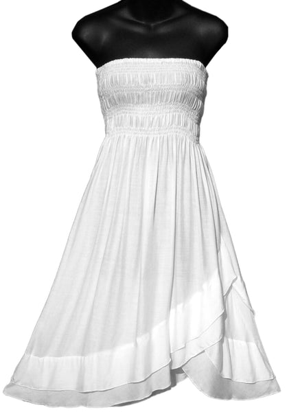 White Ruffled Convertible Dress/Skirt Dye Blank - theHipOutfitters.com