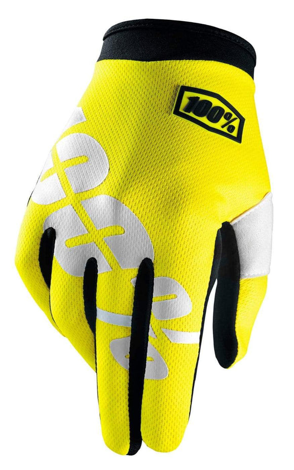 100% Apparel 100% Men's iTrack Gloves Neon Yellow S - 10002-004-10