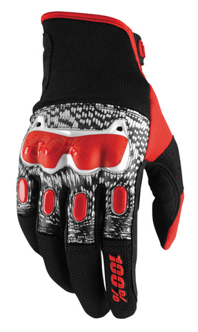 100% Men's Derestricted Gloves Black/White/Red