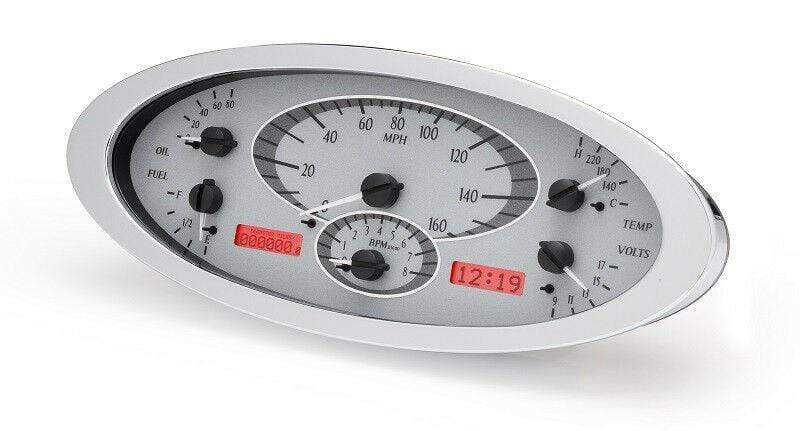 Dakota Digital Car & Truck Gauges Dakota Digital 32 Ford Car Analog Gauge System Kit Silver Alloy Red VHX-32F-S-R
