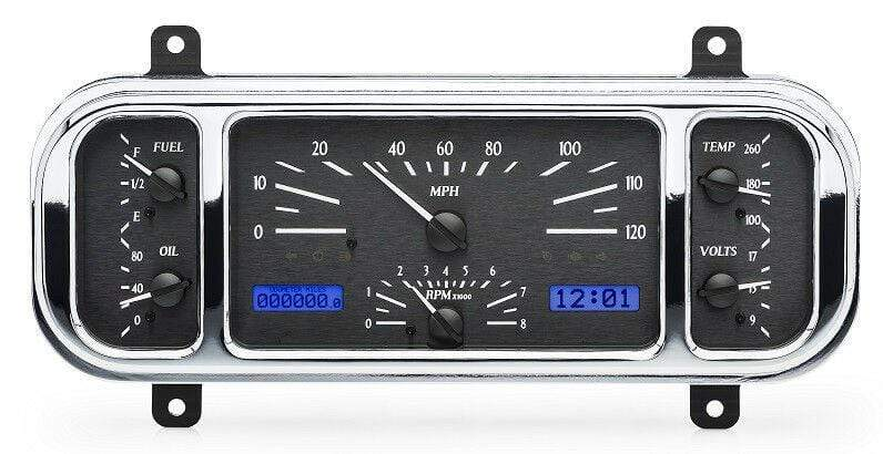Dakota Digital Car & Truck Gauges Dakota Digital 37 38 Chevy Car Analog Gauge System Black Alloy Blue VHX-37C-K-B