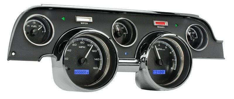 Dakota Digital Car & Truck Gauges Dakota Digital 67 68 Ford Mustang Analog Gauges Black Alloy Blue VHX-67F-MUS-K-B