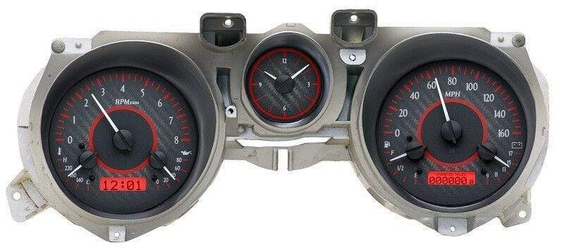 Dakota Digital 71-73 Ford Mustang Analog Gauges Carbon Fiber Red VHX-71F-MUS-C-R