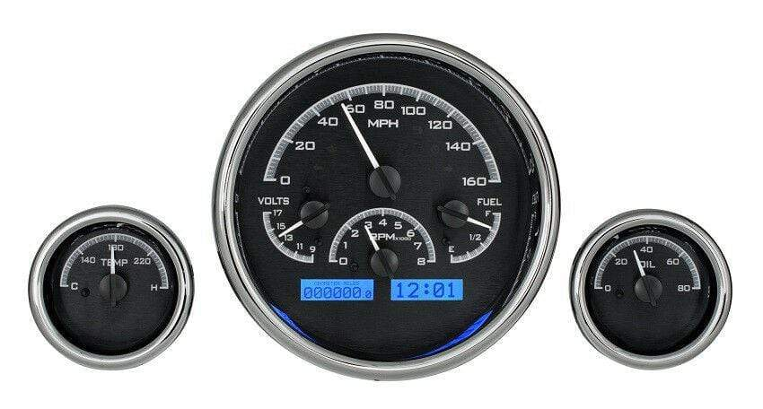 Dakota Digital Universal 3 Round Analog Gauge System Black Blue Kit VHX-1013-K-B