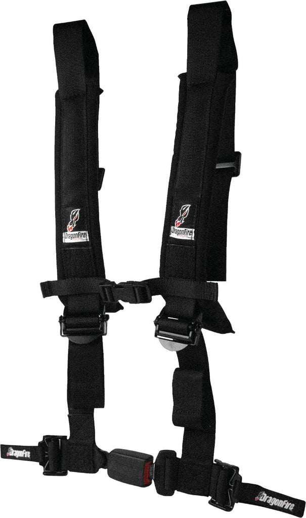 "DragonFire Racing Harness Restraint - Black - H-Style - 4-Point - EZ-Adjust - 2"" Buckle - 14-0800"