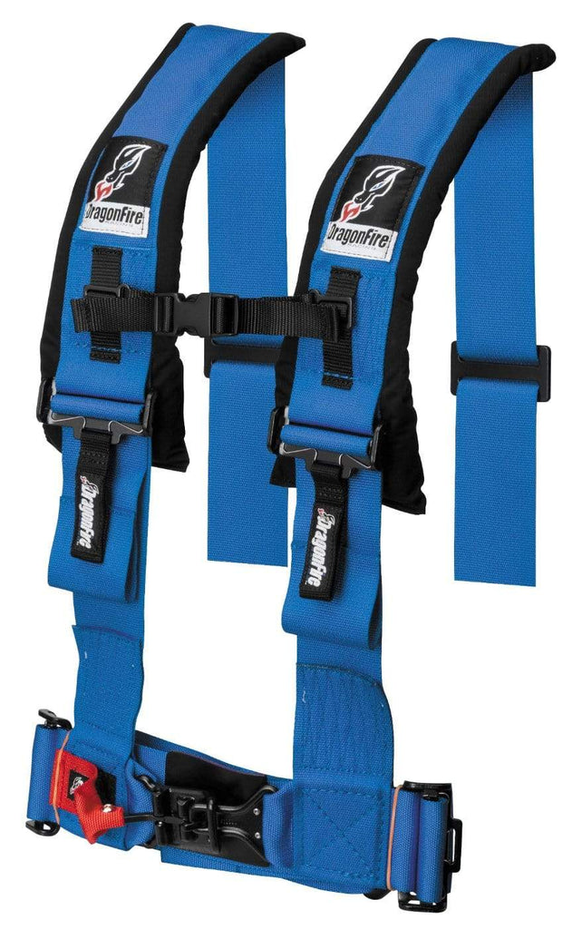 "DragonFire Racing Harness Restraint - Blue - H Style - 4-Point - 3"" Buckle - 14-0043"