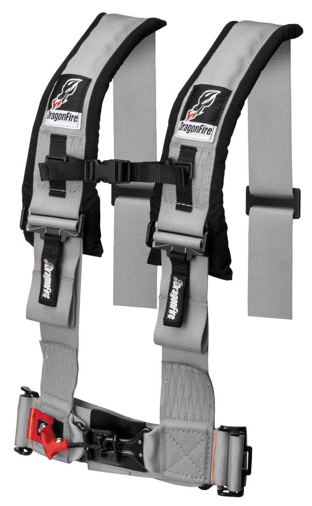 "DragonFire Racing Harness Restraint - Grey - H Style - 4-Point - 3"" Buckle - 14-0044"