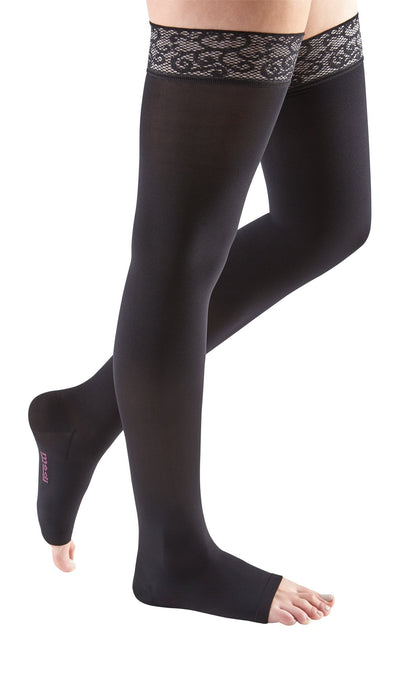 mediven comfort, 15-20 mmHg, Thigh High with Lace Top-Band, Open Toe