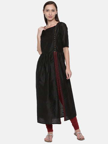 Cotton Silk Black Kurti - AS003