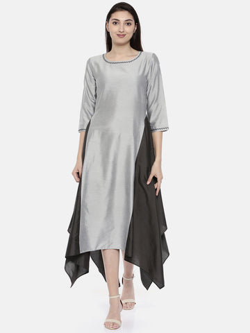 Silver Grey Fish Tail Dress - AS0110