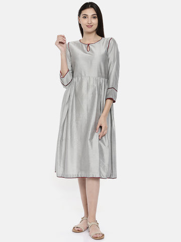 Silver With Embr Dress - AS0114